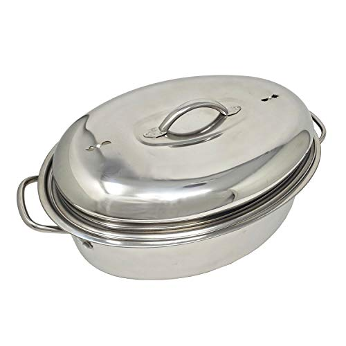 Stainless Steel Oval Lidded Roaster Pan Extra Large & Lightweight | With Induction Lid & Wire Rack | Multi-Purpose Oven Cookware High Dome | Meat Joints Chicken Vegetables 9.5 Quart Capacity by LavoHome (Image #2)