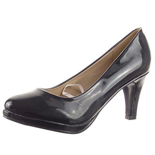 Sopily - Scarpe da Moda scarpe decollete Stiletto alla caviglia donna lucide Tacco a blocco 8 CM - Nero