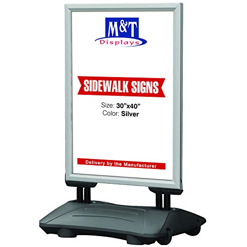 Outdoor Display Advertising Sidewalk Sign for 30x40 Inch Posters, Snap Open Frame, Double Sided, Water Base, High Wind Resistant with Spring Base by M&T Displays (Image #7)