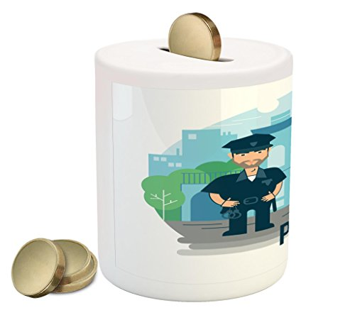 (Lunarable Police Piggy Bank, Bearded Policeman in Uniform Cartoon Style Station Surrounded by Green Trees and Car, Printed Ceramic Coin Bank Money Box for Cash Saving, Multicolor)