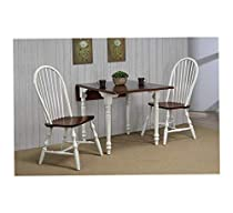 Wood & Style Furniture Dining Set, Antique White with Distressed Chestnut Home Office Commerial Heavy Duty Strong Décor