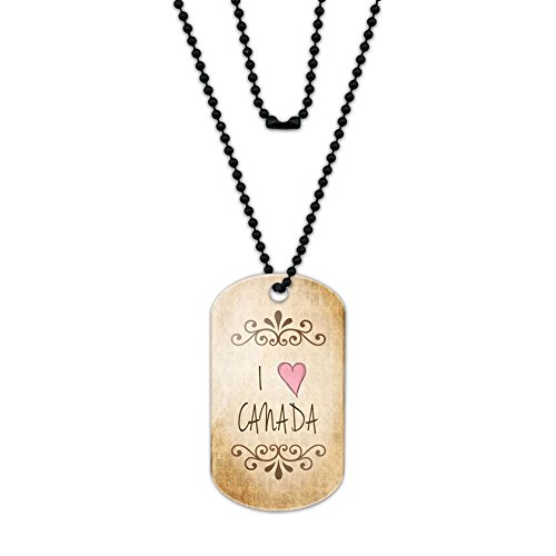 I Heart Love Canada Vintage Acrylic Dog Tag with Black Ball - Ball Canada Chain