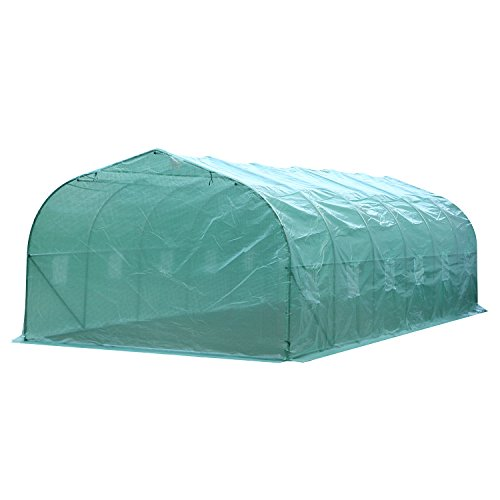 Outsunny 26'L x 10'W x 6.5'H Large Outdoor Heavy Duty Walk-In Greenhouse (Green) by Outsunny
