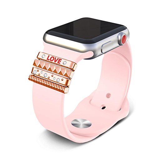 Classic Stack Personalize Sparkles Loops Accessories for All Apple Watch iWatch 38mm Bands Bracelets (Rose Gold) (Glam Bands)