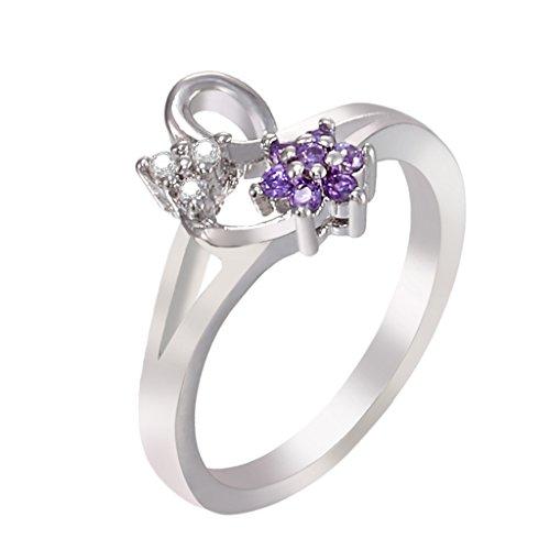 IPINK Austrian Crystal Purple Flower Design 18K White Gold Plated Ring