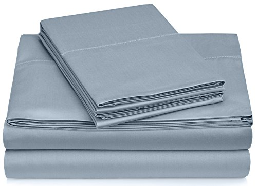 (Pinzon 400 Thread Count Egyptian Cotton Sateen Hemstitch Sheet Set - Queen, Dusty Blue)