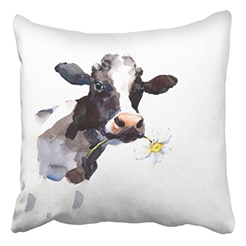 2018 pants Throw Pillow Covers Watercolor Cow A Daisy Flower In Its Mouth Farm Animal Portrait Hand Decor Pillowcases Polyester 18 X 18 Inch Square Hidden Zipper Home Cushion Decorative Pillowcase