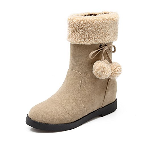 AllhqFashion Womens Kitten-Heels Solid Closed Round Toe Frosted Pull-On Boots Beige PwStlQ