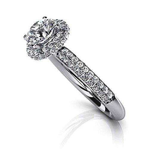 14K Or blanc double rangée Diamant Halo Bague de fiançailles