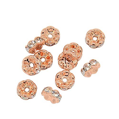 (PH PandaHall About 200 Pcs 8mm Rose Gold Plated Brass Rondelle Beads Waves Edge Crystal Rhinestone Spacer Charm Bead Nickel Free for Jewelry Making)