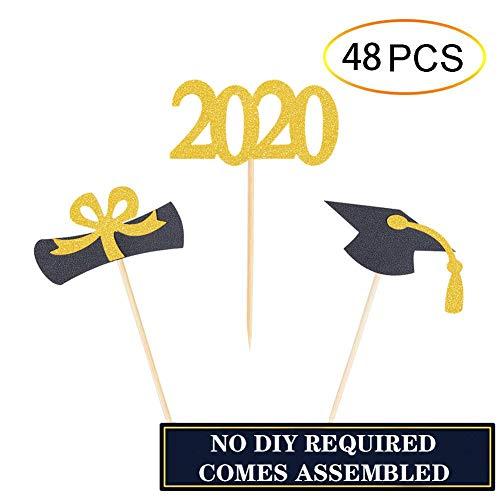 Graduation Cake Topper (Qibote Graduation Cupcake Toppers 2020 Graduation Party Cake Decorations Cupcake Topper Picks Class of 2020 Graduation Party Supplies (48)