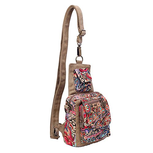 Canvas Bohemian Bag Retro Bag Travel Sports Printed Women's Shoulder Vintage Satchel Style AqUgwxH