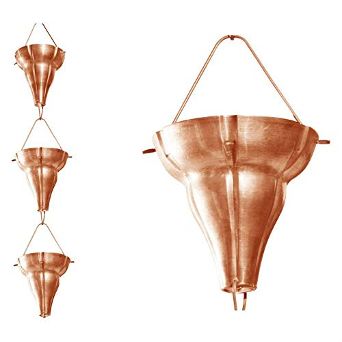 (Swag Pads Copper 8.5 Ft Floral Funnel Rain Chain Gutter Downspout)