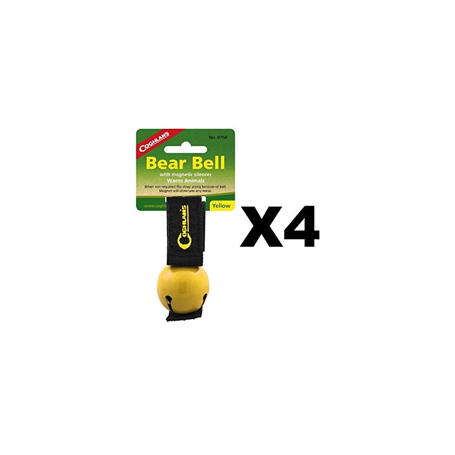 Coghlan's Bear Bell Yellow w/Magnetic Silencer Warns Animals Hiking (4 Pack)
