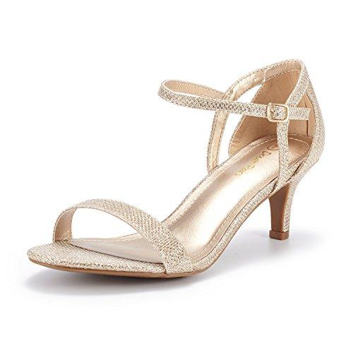 DREAM PAIRS Women's LEXII Gold Glitter Fashion Stilettos Open Toe Pump Heel Sandals Size 8.5 B(M) US