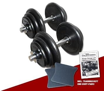 Goma Conjunto - Mancuernas 2 x 20 kg/Peso Total 40 kg: Amazon.es: Deportes y aire libre