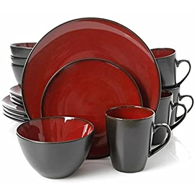 Gibson Home 109537.16R Soho Round 16 Piece Reactive Stoneware Dinnerware Set, Red