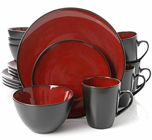Gibson Home 16 Piece Reactive Stoneware Soho Round Dinnerware Set, Red