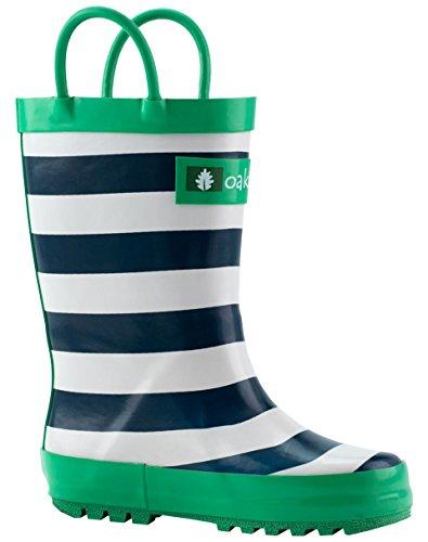Oakiwear Kids Rubber Rain Boots with Easy-On Handles, Blue, White & Green Stripes, 13T US Toddler, Blue by Oakiwear