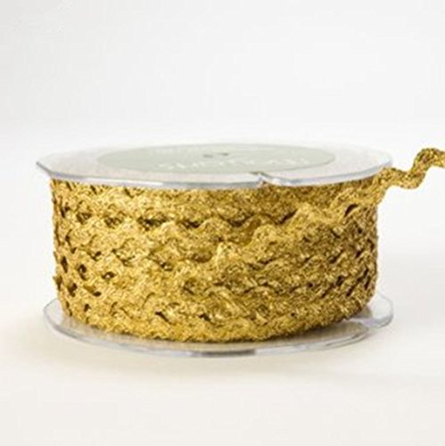 - OZXCHIXU(TM) Gold Metallic Ric Rac 6mm Ribbon Lace on a 10m length Decoration
