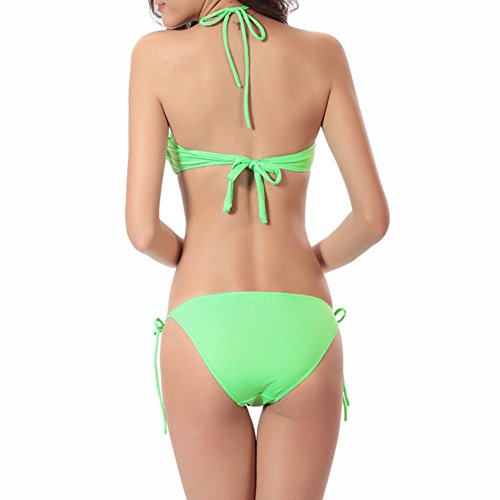 Bandeaukini Bikini Swimsuit Beach Green Soft Swimwear Beachwear Elastic Size Women One Xinvision Fashion Chic Playful for Summer Seaside xU7twnW0Iq