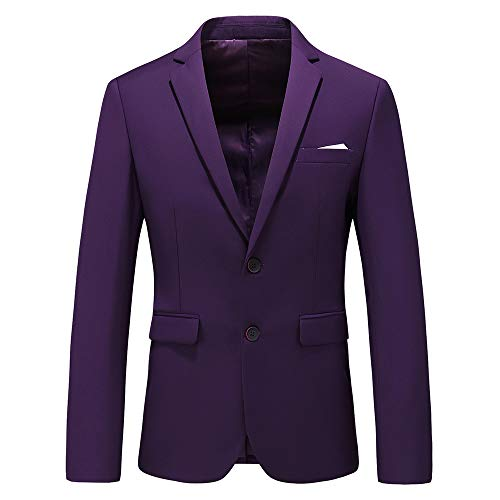 Mens Casual Two Button Single Breasted Suit Jacket Modern Wedding Tux Blazer US Size 44 (Label Size 6XL) Purple