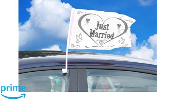 Folat Baderin Bandera Just Married para el Coche Auto Blanco