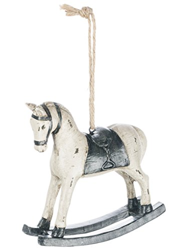 "Sullivans 4.5"" White Resin Rocking Horse Ornament"