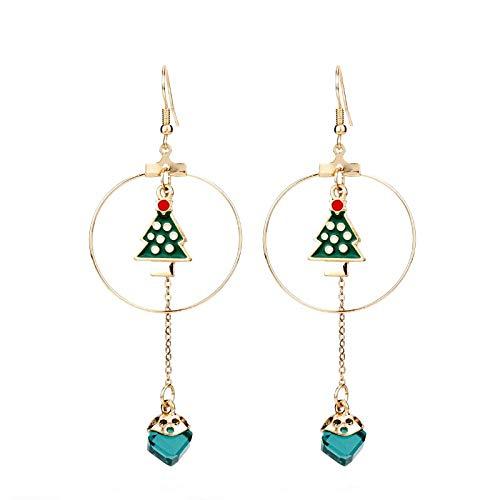 Gold Color Christmas Jewelry Drop Earrings | Green Tree Blue Rhinestone Cube Beads Circle Jewelry (1Pai)