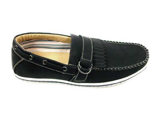 Hombres 30217 Mocasín Fringe Slip On Casual Loafer Zapatos Black