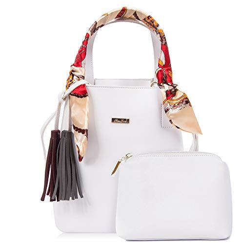 - RenDian Retro Bucket Bag Women Leather Wide Strap Shoulder Bag Tote Purse Handbag With Wallet for Travel/Leisure/Dating