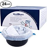 Medokare Commode Liners with Absorbent Pad, 24 Liners - Fits Any Standard Bedside Commode Bucket Potty or Toilet Commode Pail - Disposable Commode Liners for an Adult Commode Chair