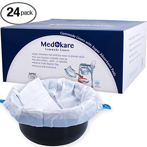 (Medokare Commode Liners with Absorbent Pad, 24 Liners - Fits Any Standard Bedside Commode Bucket Potty or Toilet Commode Pail – Disposable Commode Liners for an Adult Commode Chair)