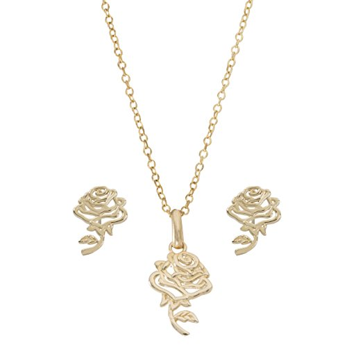 Disney Princess Jewelry for Women and Girls, Beauty and the Beast 14K Yellow Gold Rose Pendant Necklace and Stud Earrings Set, 18