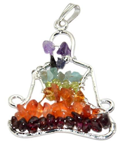 Aatm Natural Chakra Healing Seven Chakra Gemstone Beads Buddha Shape Pendant for Healing and Meditation ()
