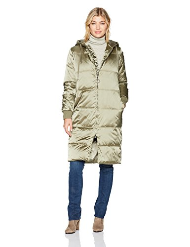 Avec Les Filles Women's Nylon Down Sleeping Bag Style Puffer Coat, Tidal Foam, L by Avec Les Filles