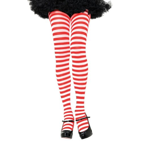 Leg Avenue Women's Nylon Striped Tights, White/Red, One Size (Red And White Striped Leg Warmers)