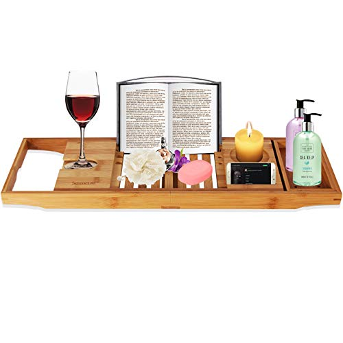 Luxury Bamboo Bathtub Caddy Tray - Adjustable Natural Wood Bath Tub Organizer with Wine Holder, Cup Placement, Soap Dish, Book Space & Phone Slot for Spa, Bathroom & Shower - SereneLife SLBCAD20 (Best Flip Phone On The Market 2017)