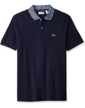Men's Short Sleeve Heather Collar Pique Polo
