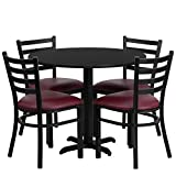 Lancaster Home 36'' Round Laminate Table Set with 4 Ladder Back Metal Chairs