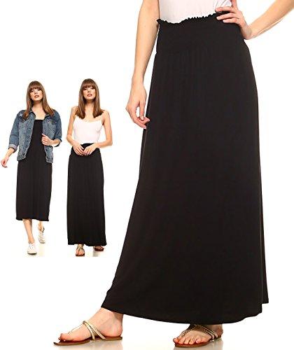 Amie Finery Maxi Skirts For Women Smocked Waist Skirt Smocked Midi Casual Dress Small (Black Travel Skirt)