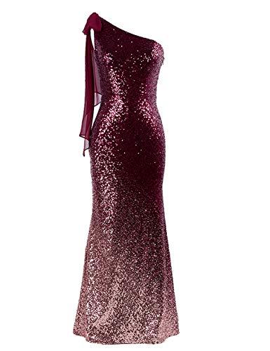 (Ever-Pretty Women Fashion Sequins Floor Length Single Shoulder Evening Dresses 10 US Burgundy)