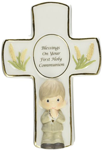 Precious Moments,  Blessings On Your First Holy Communion, Bisque Porcelain Covered Box With Rosary, Boy, 123407