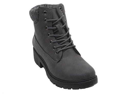 Women Fashion Dress Suede Round Toe Lace up Ankle Bootie YAMARY-H In Black and Grey YAMARY-H Grey Size - And Nyc H M Kids