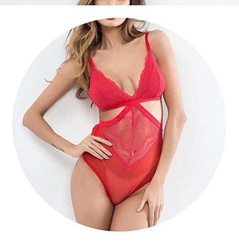 2019 New Lace Ertic Lingerie Women Hollow Out Teddy Jumpsuit Hot Sex Babydoill,Large,Rosered ()