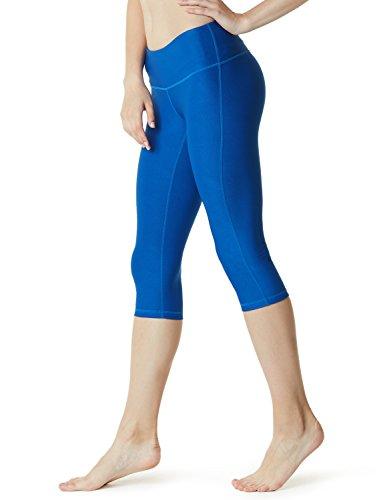 (TSLA Yoga 17 Inches Capri Mid-Waist Pants w Hidden Pocket, Yogabasic Thick Midwaist(fyc21) - Blue, Medium (Size 8-10_Hip39-41)
