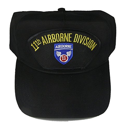 11th AIRBORNE DIVISION VETERAN HAT with 11TH AIRBORNE crest cap - BLACK - Veteran Owned (11th Airborne Division)