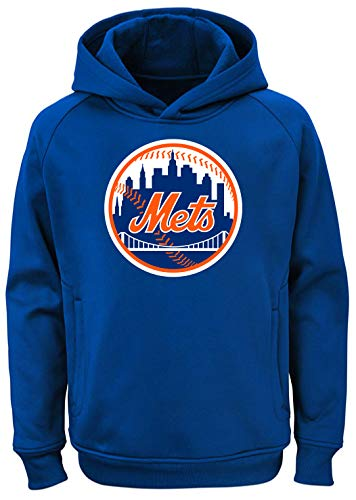 Outerstuff MLB Kids 4-7 Team Color Polyester Performance Primary Logo Pullover Sweatshirt Hoodie (5/6, New York Mets) ()