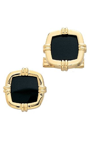 14K Yellow Gold and Onyx Cufflinks-86343 14k Gold Onyx Cufflinks