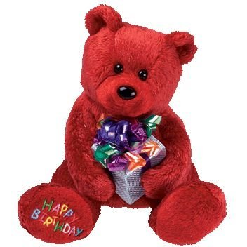 TY Beanie Baby - HAPPY BIRTHDAY the Bear ( Red - w/ Present )